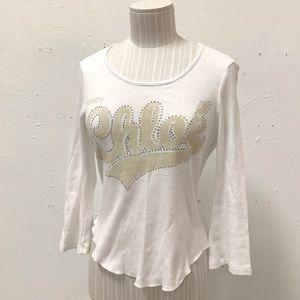 See by Chloe Rhinestone Tan White Logo Shirt